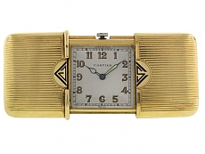 Movado for Cartier Art Deco 'Ermeto' Clock in 18K Gold