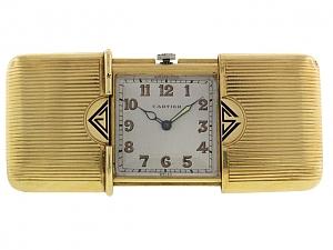 Movado for Cartier Art Deco 'Ermeto' Clock in 18K Gold