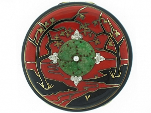 Art Deco Chinoiserie Compact with Jade and Diamonds in 14K