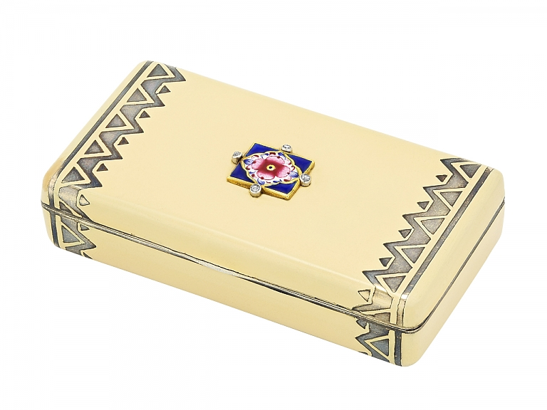 Video of Cartier Art Deco Enamel Box in 18K and Silver