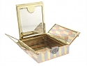 Art Deco Tricolor Gold and Diamond Triptych Compact in 14K