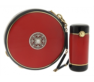 Art Deco Enamel Compact and Lipstick Holder in 14K and Silver Gilt