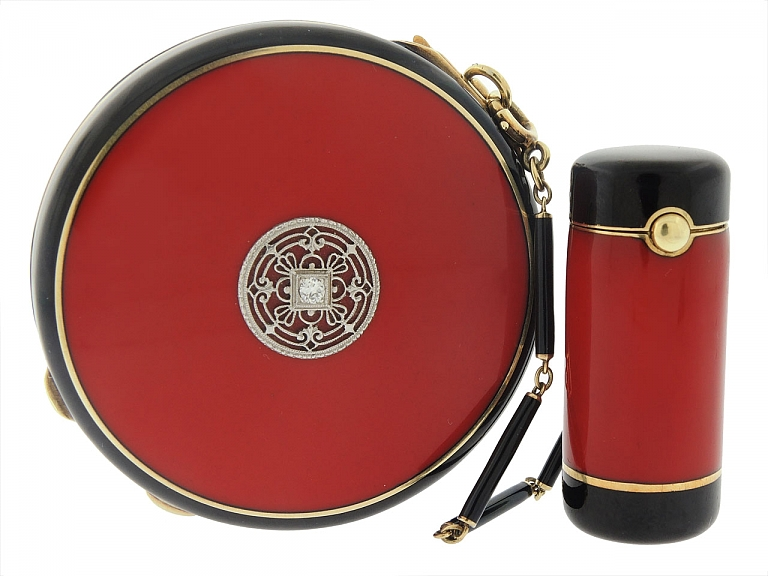 Video of Art Deco Enamel Compact and Lipstick Holder in 14K and Silver Gilt