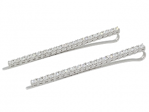 Pair of Sue Gragg Diamond Hair Barretts in 18K White Gold