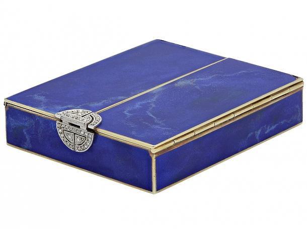 Art Deco Lapis, Diamond and Enamel Box in 14K Gold