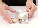 Retro Silver and 14K Gold Box, with Rubies and Aquamarine