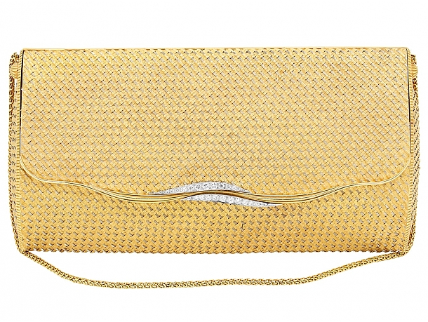 Mid-Century French Woven Gold Bag in 18K