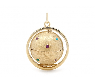 Mid-Century Ball Locket in 14K Gold