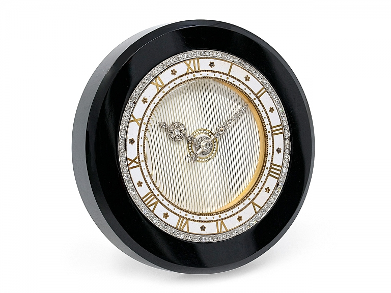 Video of Cartier Art Deco Onyx Desk Clock with Diamonds
