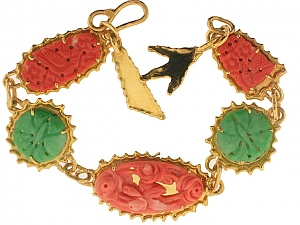 Neiman Marcus Carved Coral and Jadeite Bracelet in 22K Gold