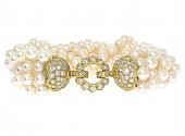 Pearl Multi-Strand Bracelet with Diamond Clasp in 18K