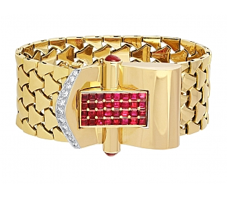 Retro Ruby and Diamond Buckle Bracelet in 18K