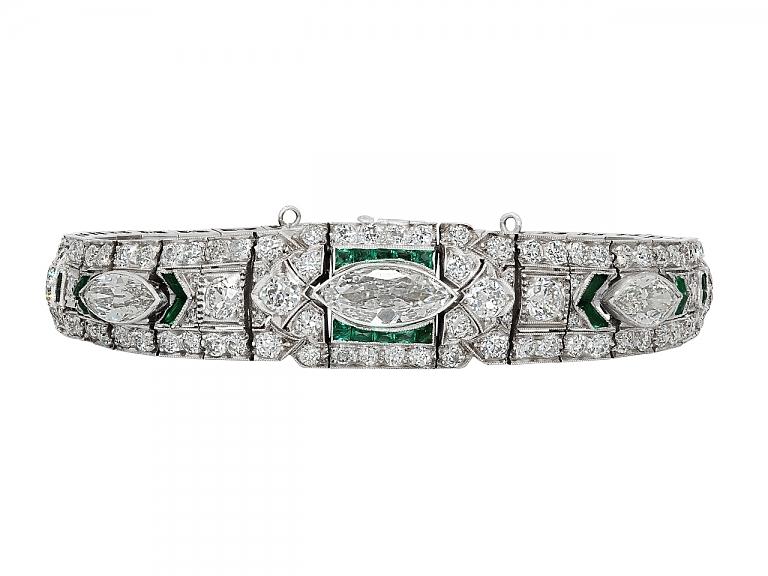 Video of Art Deco Emerald and Diamond Bracelet in Platinum