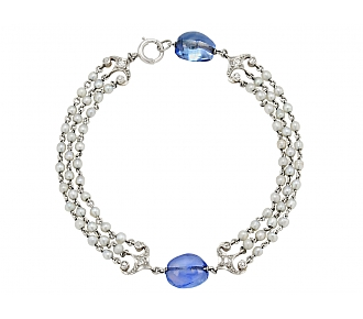 Art Deco Sapphire Bead and Seed Pearl Bracelet in 14K