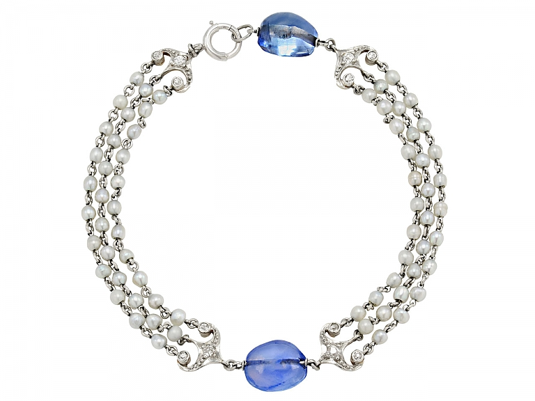 Video of Art Deco Sapphire Bead and Seed Pearl Bracelet in 14K