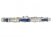 Oscar Heyman Sapphire and Diamond Bracelet in Platinum