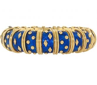 Tiffany & Co. Schlumberger Blue Enamel Bangle Bracelet 18K