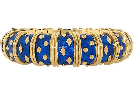 Tiffany & Co. Schlumberger Blue Enamel Bangle Bracelet 18K