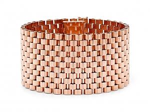 Mid-Century Wide Gold Bracelet in 18K Rose Gold