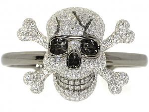 Sue Gragg Skull and Crossbones Cuff Bracelet in 18K