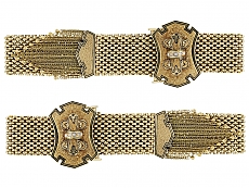 Pair of Antique Victorian Mesh Bracelets in 14K Gold