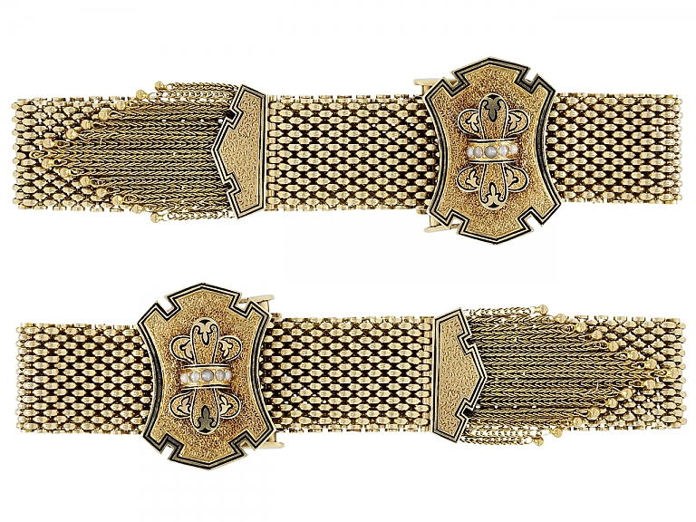 Video of Pair of Antique Victorian Mesh Bracelets in 14K Gold