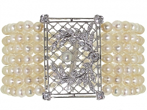 Antique Edwardian Natural and Cultured Pearl and Diamond Bracelet in Platinum and Gold