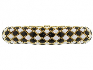 David Webb Black and White Enamel Bracelet in 18K