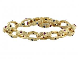Alex Šepkus Ruby and Sapphire Toggle Bracelet in 18K