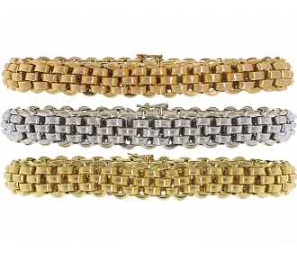 Trio of Bracelets in Rose, White and Yellow 18K