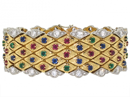Boucheron Emerald, Sapphire and Ruby Bracelet in 18K