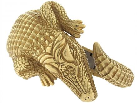 Kieselstein-Cord Alligator Cuff Bracelet in 18K 'Green' Gold, Large