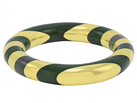 Tiffany & Co. Green Jade Bangle Bracelet, designed by Angela Cummings, in 18K Gold