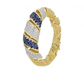 Sterlé Mid-Century Sapphire and Diamond Bracelet in 18K Gold