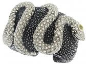 Diamond Snake Leather Cuff Bracelet in 18K