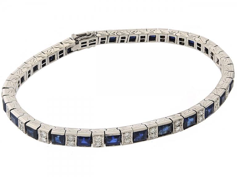 Video of Diamond and Sapphire Line Bracelet in Platinum
