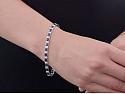 Diamond and Sapphire Line Bracelet in Platinum