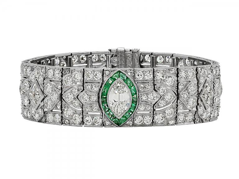 Video of Art Deco Diamond and Emerald Bracelet in Platinum