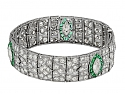 Art Deco Diamond and Emerald Bracelet in Platinum