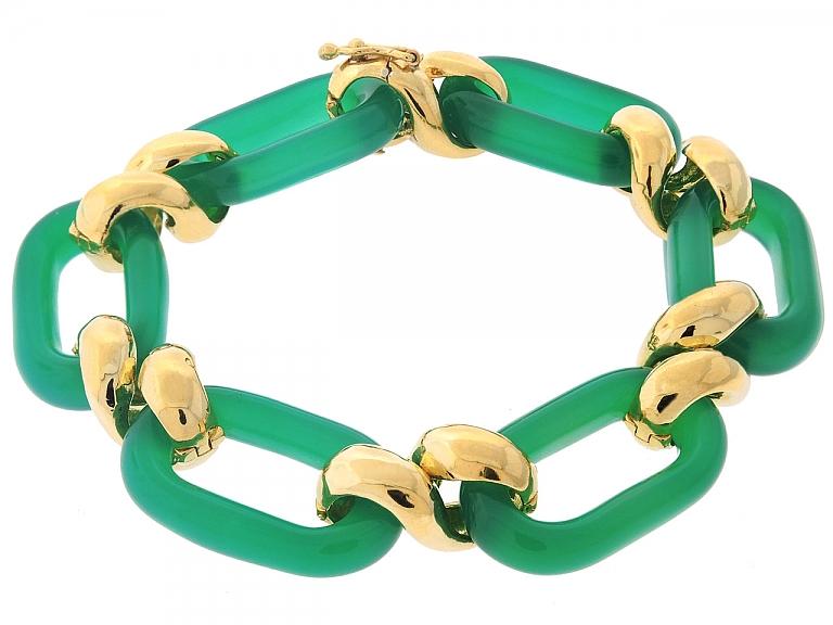 Video of Chrysoprase Link Bracelet in 18K Gold