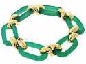 Chrysoprase Link Bracelet in 18K Gold
