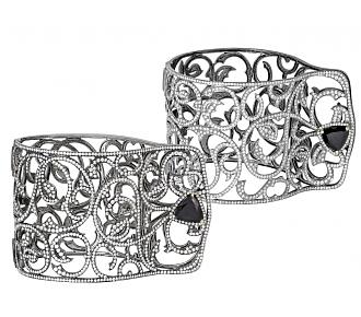 Pair of Diamond and Dark Garnet Cuffs in 18K