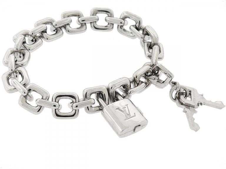 Video of Louis Vuitton 'Padlock and Keys' Charm Bracelet in 18K White Gold