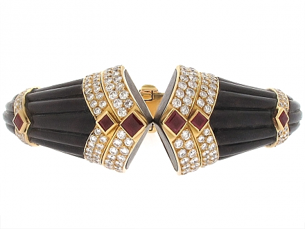 Boucheron Bracelet with Diamonds and Rubies in 18K