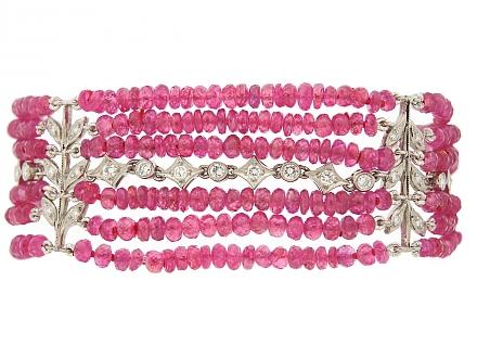 Cathy Waterman Pink Sapphire Bead Bracelet in Platinum