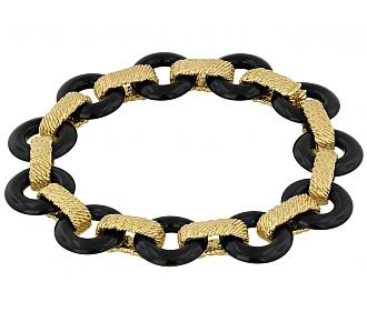 Van Cleef & Arpels Onyx and Gold Bracelet in 18K
