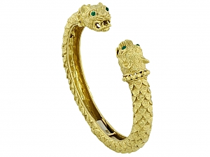 David Webb 'Kingdom' Collection Greek Lion Bangle in 18K Gold