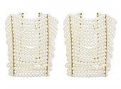 Pair of Wide Pearl Bracelets in 18K Gold