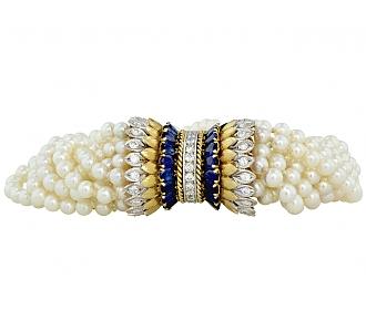 Pearl, Diamond, and Sapphire Torsade Bracelet in 14K and Platinum