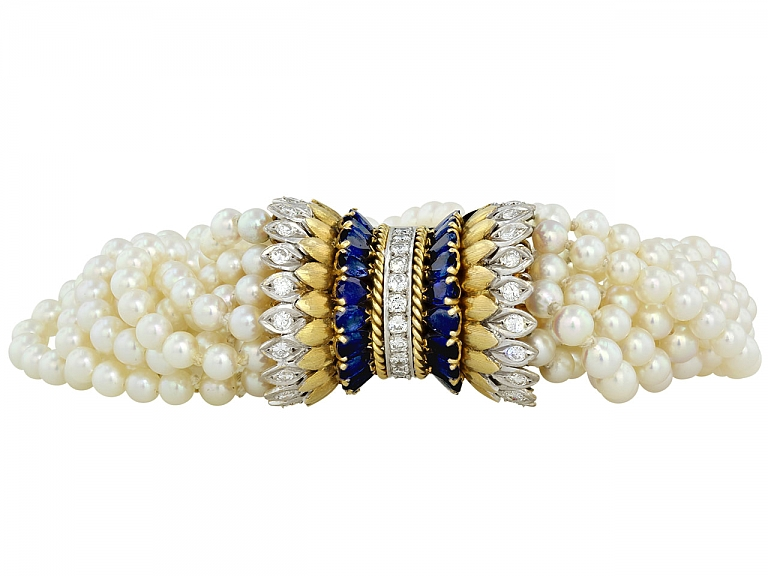 Video of Pearl, Diamond, and Sapphire Torsade Bracelet in 14K and Platinum